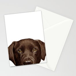 Labrador Chocolate original illustration by miart Stationery Cards
