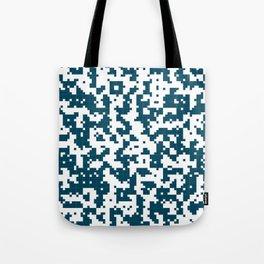 Small Pixel Big Pixel - Geometric Pattern in Dark Blue Tote Bag
