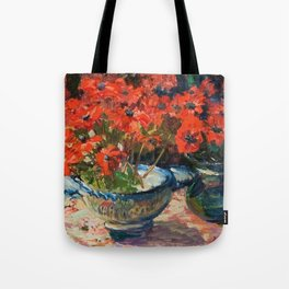 Still Life with Red Flowers floral portrait painting Helene Cramer Tote Bag