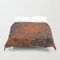 austin Duvet Covers featuring Austin map by Map Map Maps