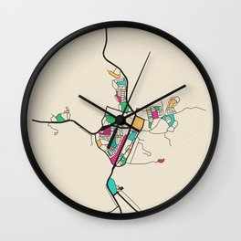 Colorful City Maps: Alice Springs, Australia Wall Clock
