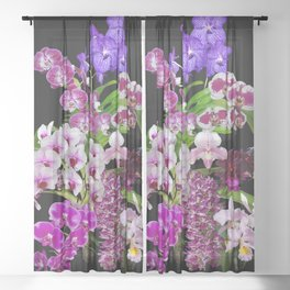 Orchids - Cool colors! Sheer Curtain