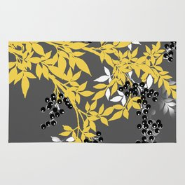 TREE BRANCHES YELLOW GRAY  AND BLACK LEAVES AND BERRIES Rug