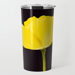 Yellow Poppy Black Background #decor #society6 #buyart Travel Mug
