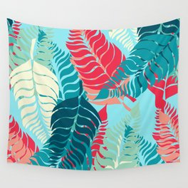 Leave Me Layered (Aqua Red) Wall Tapestry