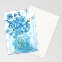 Painting of Blue Flowers in Vase, Impasto Stationery Cards