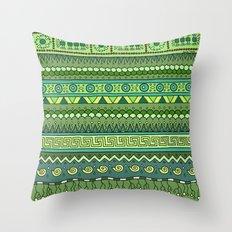 Yzor pattern 009 green-blue summer Throw Pillow