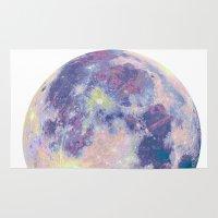 the moon Area & Throw Rugs featuring Moon by Marta Olga Klara