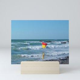 SURF'S UP FLAG AT SANDYMOUTH BEACH NORTH CORNWALL Mini Art Print