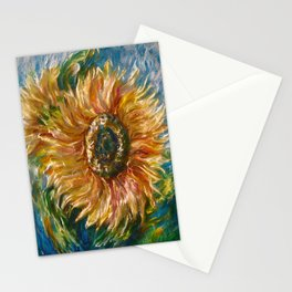 Sunflower Joy Palette Knife Painting  Stationery Cards