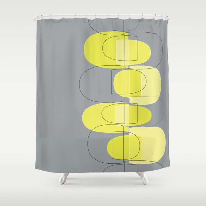 Mod Pods yellow Shower Curtain