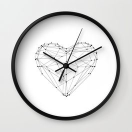 Love Heart Geometric Polygon Drawing Vector Illustration Valentines Day Gift for Girlfriend Wall Clock