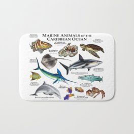 Marine Animals of the Caribbean Ocean Bath Mat