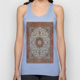 N71 - Orange Antique Heritage Traditional Moroccan Style Mandala Artwork Unisex Tank Top