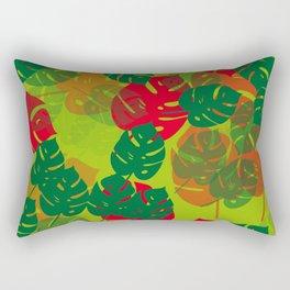 monstera green red Rectangular Pillow
