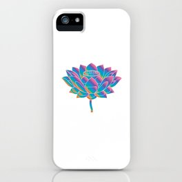 Blue Rainbow Lotus Holly Flower iPhone Case
