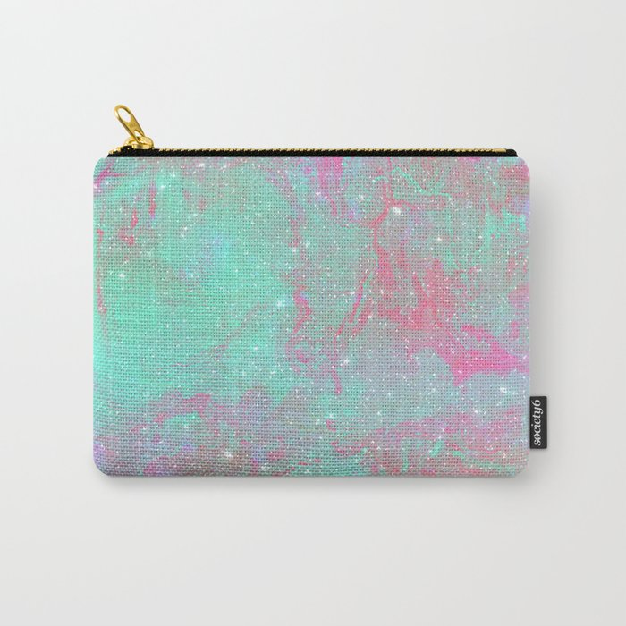 Teal Pink Marble Stars Carry-All Pouch
