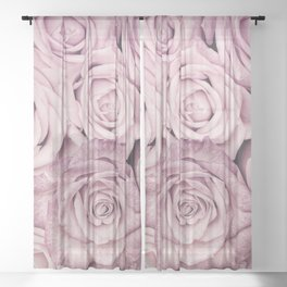 Some People Grumble - Pink Rose Pattern - Roses Sheer Curtain