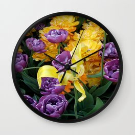 Yellow and Purple Tulips Wall Clock