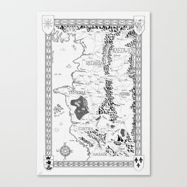 Witcher map Black and white Canvas Print