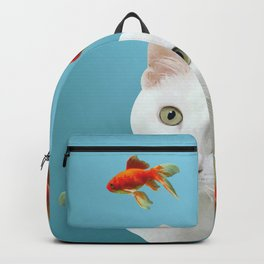 white lovely cat with goldfishes #cats Backpack