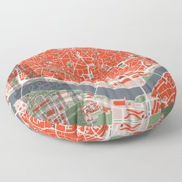 Seville city map classic Floor Pillow