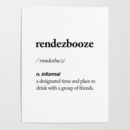 Rendezbooze black and white contemporary minimalism typography design home wall decor bedroom Poster