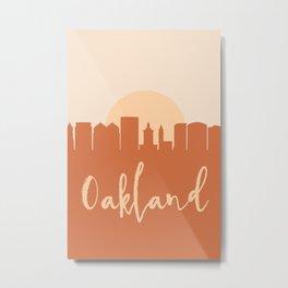 OAKLAND CALIFORNIA CITY SUN SKYLINE EARTH TONES Metal Print