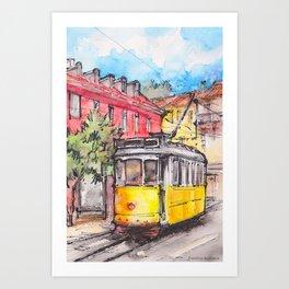 Yellow tram in Lisbon ink & watercolor illustration Art Print