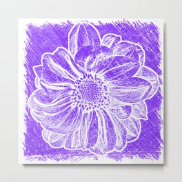 White Flower On Purple Crayon Metal Print