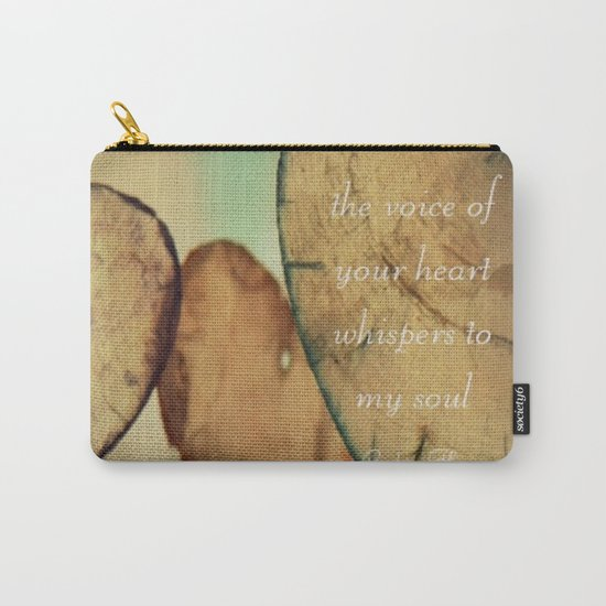 The Voice Of Your Heart Whispers To My Soul - Wind Chimes - Rustic - Wedding - Valentine's Day Carry-All Pouch