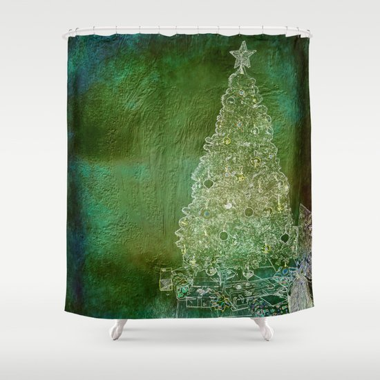 Christmas tree on forest green shower curtain by wendy for Forest green curtains drapes