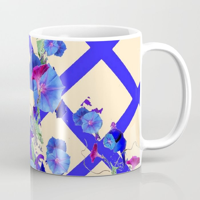 BLUE MORNING GLORIES & BLUE-CREAM LATTICE  DESIGN Coffee Mug