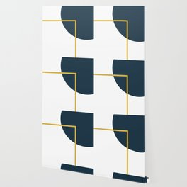 Fusion Minimalist Geometric Abstract in Mustard Yellow, Navy Blue, and White Wallpaper