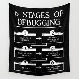 6 Stages Of Debugging Programming Coding Wall Tapestry