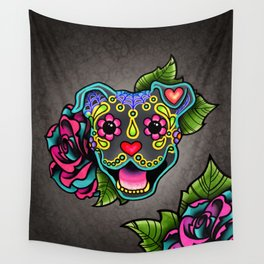 Smiling Pit Bull in Blue - Day of the Dead Pitbull Sugar Skull Wall Tapestry