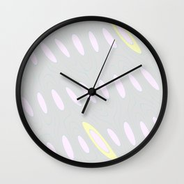 Geo Flow Gray Pink Yellow Wall Clock