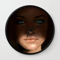 sci fi Wall Clocks featuring Sci Fi Face by Sean Higgins