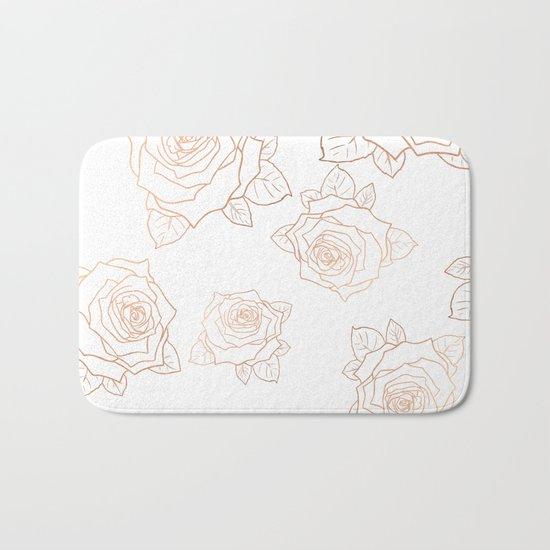 Metallic Roses Bath Mat