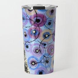 Circles and Flowers- Blue Travel Mug