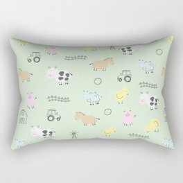 Cute Little Farm Animals Rectangular Pillow