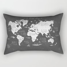 The World Map B/W Rectangular Pillow
