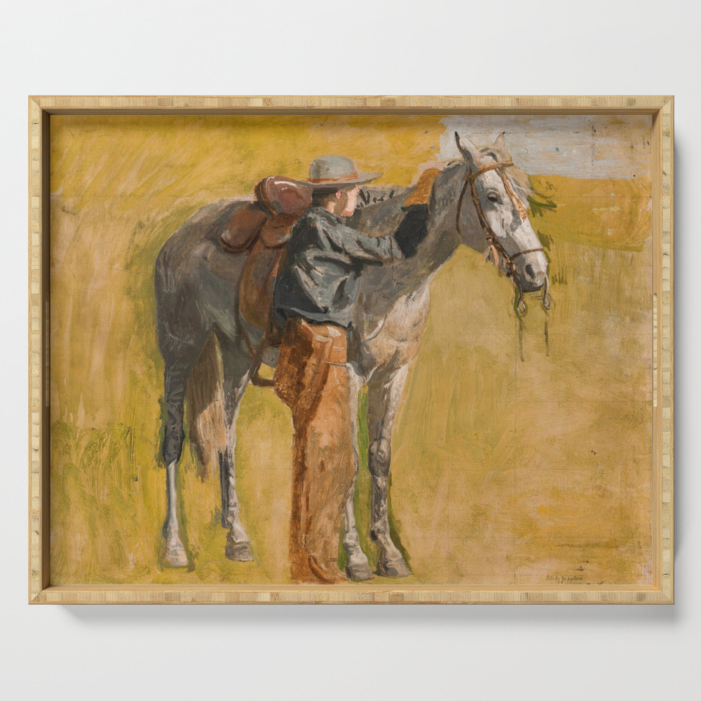 Cowboy: Study for Cowboys in the Badlands, 1887 Serving Tray by fineearthprints