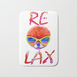 Relax - pomeranian in glasses Bath Mat