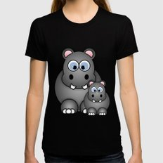 Hippos. LARGE Black Womens Fitted Tee