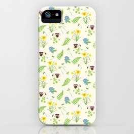 Spring Flowers and Ferns Illustrated Pattern Print iPhone Case