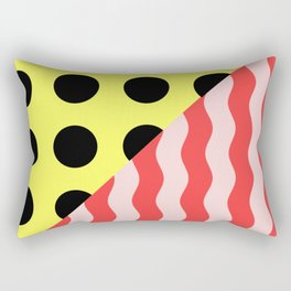 Polka Waves - black and yellow polka dots and red and pink waves Rectangular Pillow