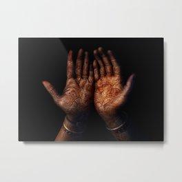 Henna on Hands - Indian mood Metal Print
