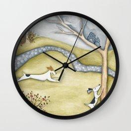 Dog squirrel landscape painting GET IT! original art Wall Clock