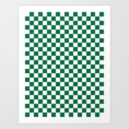 White and Cadmium Green Checkerboard Art Print